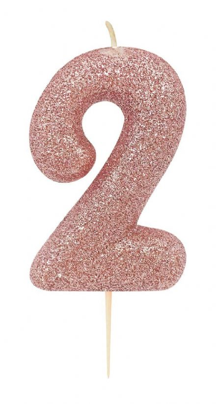 Number 2 Rose Gold Glitter Candle